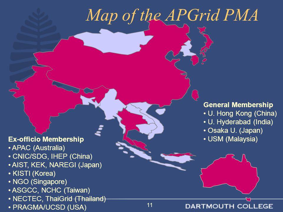 11 Ex-officio Membership APAC (Australia) CNIC/SDG, IHEP (China) AIST, KEK, NAREGI (Japan) KISTI (Korea) NGO (Singapore) ASGCC, NCHC (Taiwan) NECTEC, ThaiGrid (Thailand) PRAGMA/UCSD (USA) General Membership U.