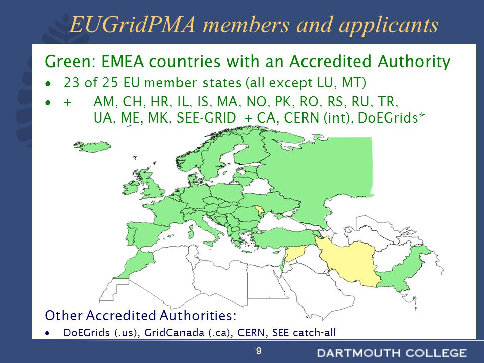 9 Green: EMEA countries with an Accredited Authority  23 of 25 EU member states (all except LU, MT)  +AM, CH, HR, IL, IS, MA, NO, PK, RO, RS, RU, TR, UA, ME, MK, SEE-GRID + CA, CERN (int), DoEGrids* Other Accredited Authorities:  DoEGrids (.us), GridCanada (.ca), CERN, SEE catch-all EUGridPMA members and applicants