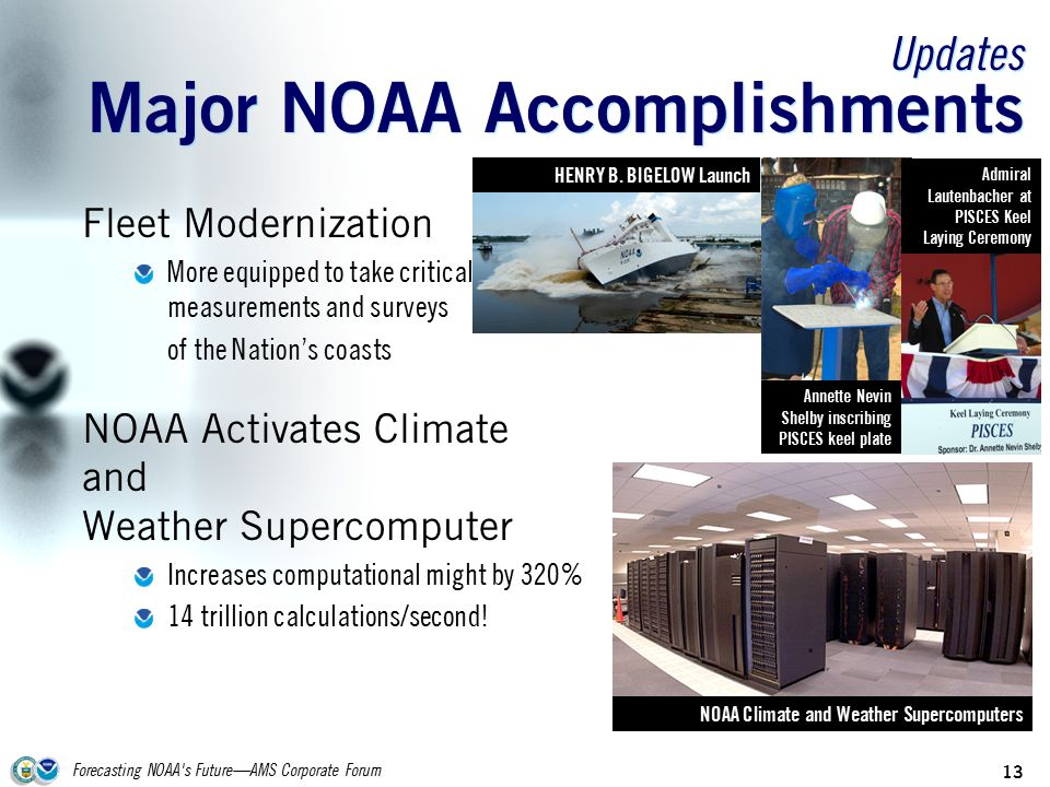 Forecasting NOAA s Future—AMS Corporate Forum 13 Updates Major NOAA Accomplishments Fleet Modernization More equipped to take critical measurements and surveys of the Nation's coasts NOAA Activates Climate and Weather Supercomputer Increases computational might by 320% 14 trillion calculations/second.