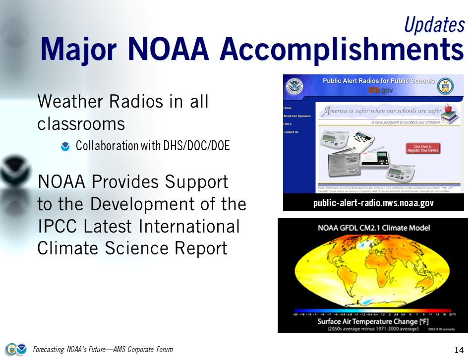 Forecasting NOAA s Future—AMS Corporate Forum 14 Updates Major NOAA Accomplishments Weather Radios in all classrooms Collaboration with DHS/DOC/DOE NOAA Provides Support to the Development of the IPCC Latest International Climate Science Report public-alert-radio.nws.noaa.gov