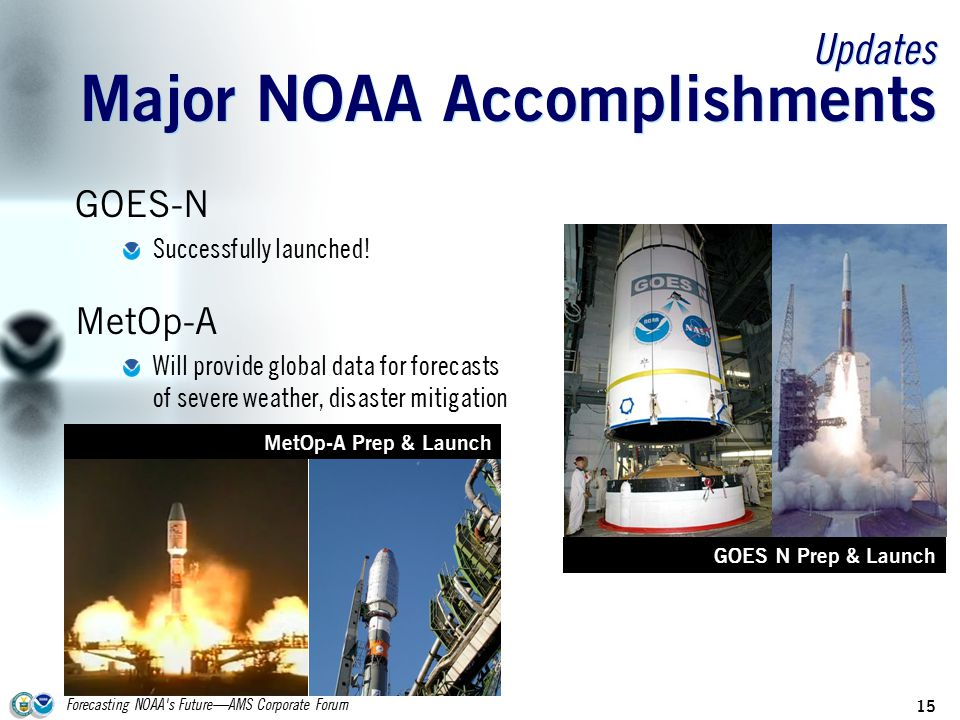 Forecasting NOAA s Future—AMS Corporate Forum 15 Updates Major NOAA Accomplishments GOES-N Successfully launched.