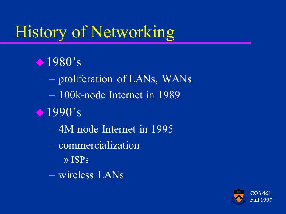 COS 461 Fall 1997 History of Networking u 1980's –proliferation of LANs, WANs –100k-node Internet in 1989 u 1990's –4M-node Internet in 1995 –commercialization »ISPs –wireless LANs