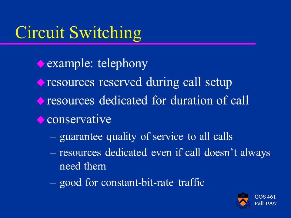 COS 461 Fall 1997 Circuit Switching u example: telephony u resources reserved during call setup u resources dedicated for duration of call u conservative –guarantee quality of service to all calls –resources dedicated even if call doesn't always need them –good for constant-bit-rate traffic