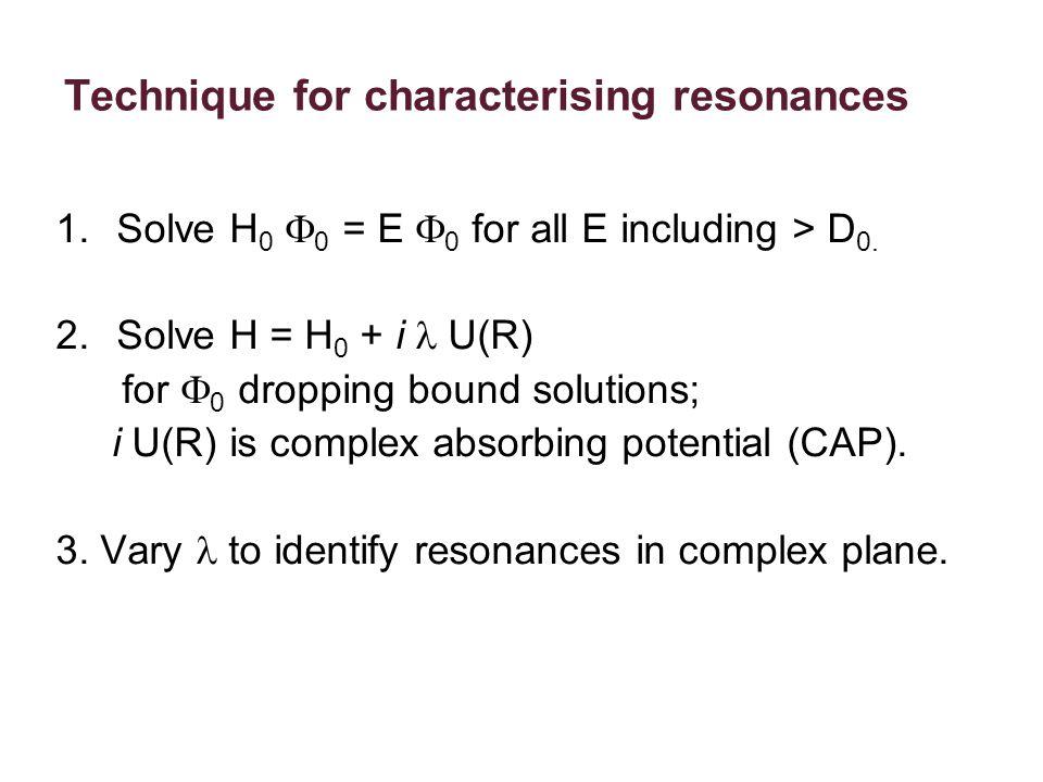 Technique for characterising resonances 1.Solve H 0  0 = E  0  for all E including > D 0.