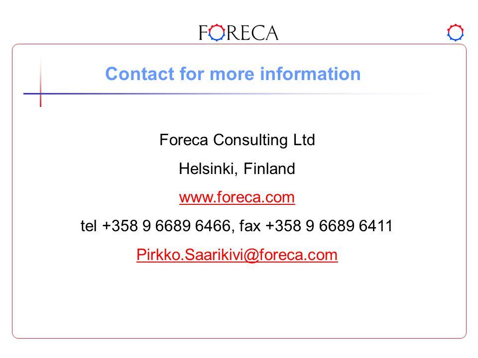 Contact for more information Foreca Consulting Ltd Helsinki, Finland www.foreca.com tel +358 9 6689 6466, fax +358 9 6689 6411 Pirkko.Saarikivi@foreca