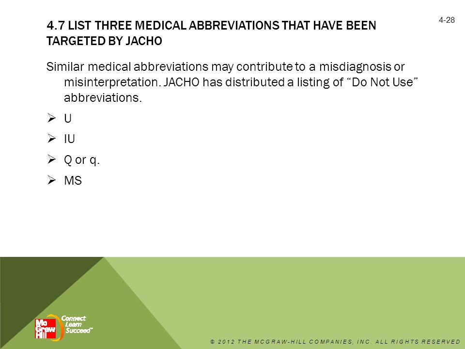4.7 LIST THREE MEDICAL ABBREVIATIONS THAT HAVE BEEN TARGETED BY JACHO Similar medical abbreviations may contribute to a misdiagnosis or misinterpretation.