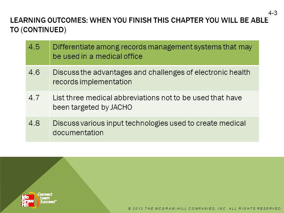 4.3 IDENTIFY COMPONENTS OF A PAPER-BASED MEDICAL RECORD AND EXPLAIN HOW THE SAME COMPONENTS WILL BE COMPILED IN AN ELECTRONIC HEALTH RECORD FORMAT  Notes from the patient encounter, such as the chief complaint, history, examination, impression/diagnosis, and treatment plan are documented in a patient medical chart using various formats, such as SOAP.