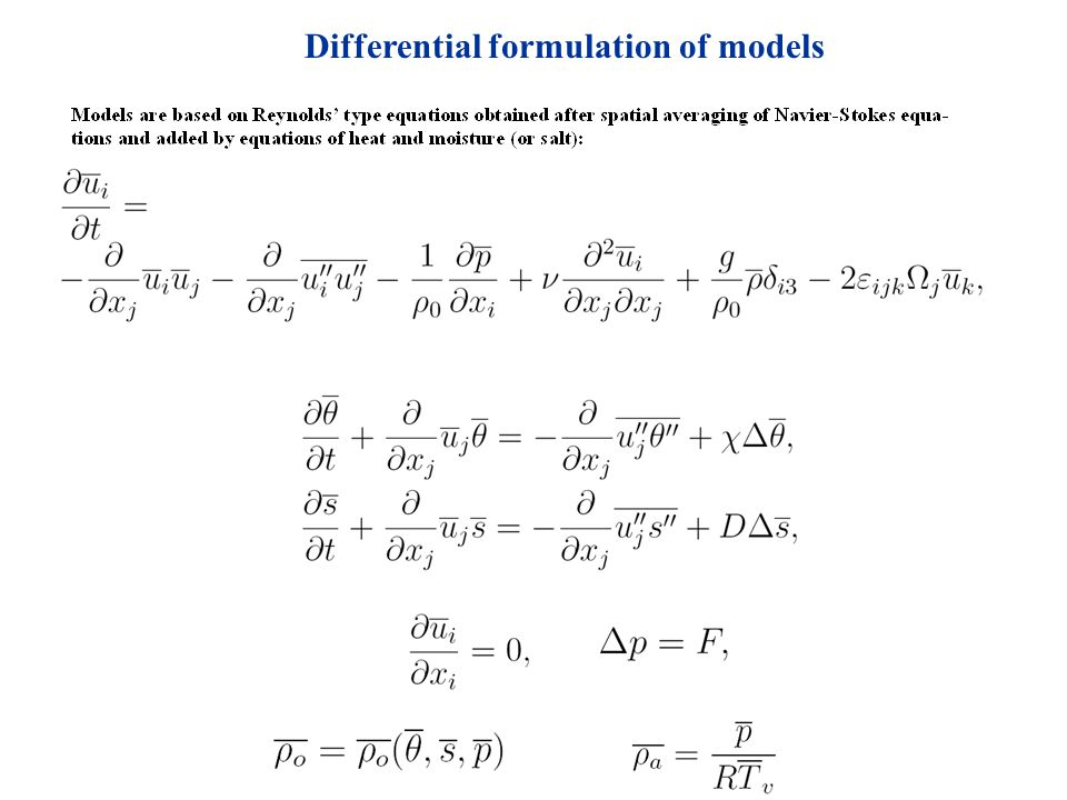 Differential formulation of models