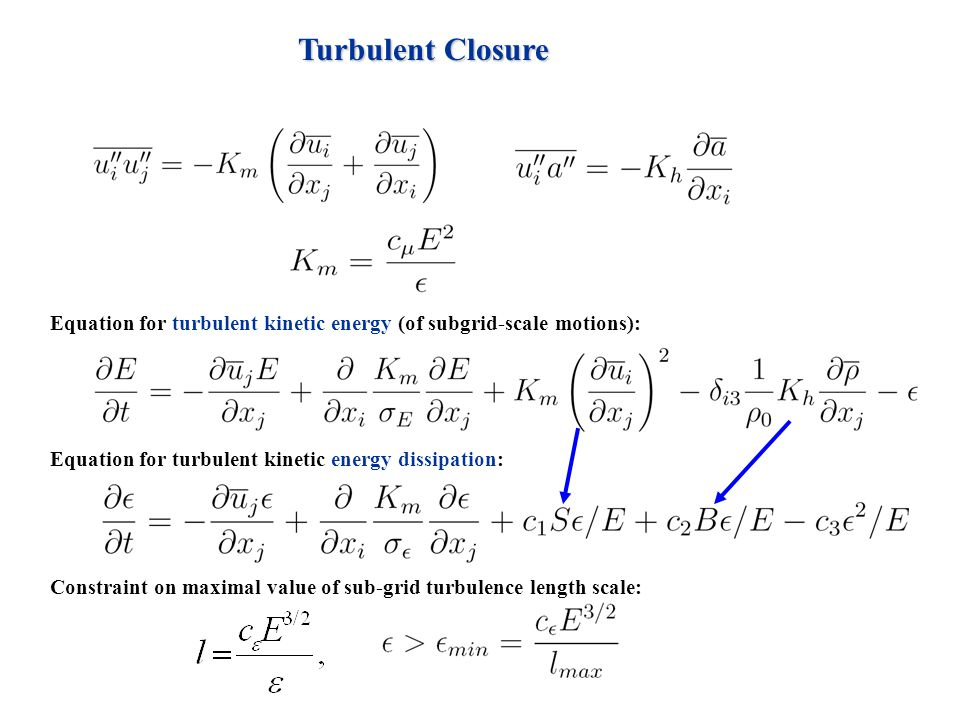 Turbulent Closure Equation for turbulent kinetic energy (of subgrid-scale motions): Equation for turbulent kinetic energy dissipation: Constraint on m