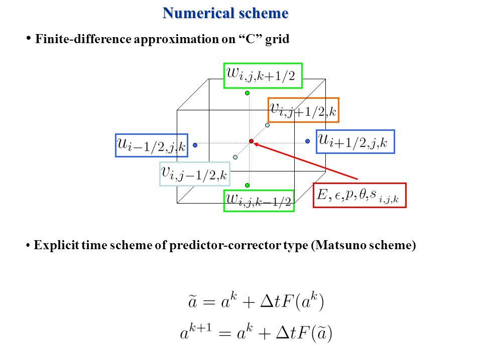 Finite-difference approximation on C grid Explicit time scheme of predictor-corrector type (Matsuno scheme) Numerical scheme