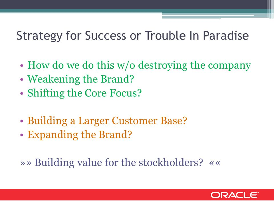 Strategy for Success or Trouble In Paradise How do we do this w/o destroying the company Weakening the Brand.