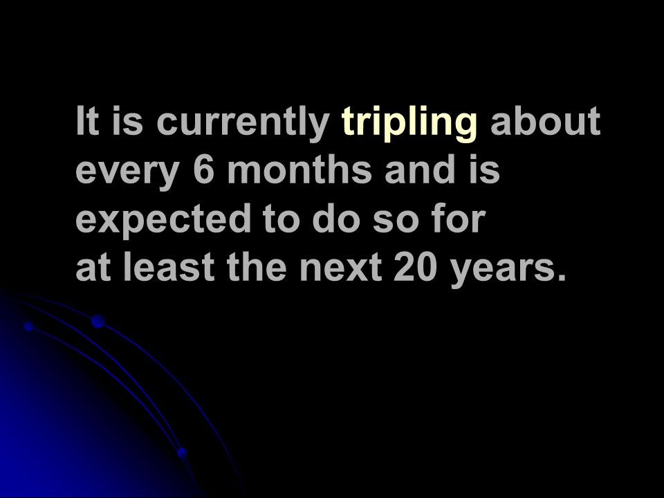 It is currently tripling about every 6 months and is expected to do so for at least the next 20 years.