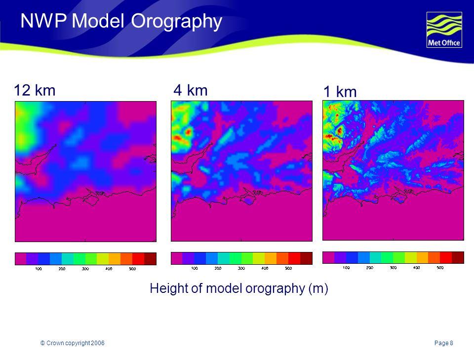 Page 8© Crown copyright 2006 NWP Model Orography 12 km4 km 1 km Height of model orography (m)