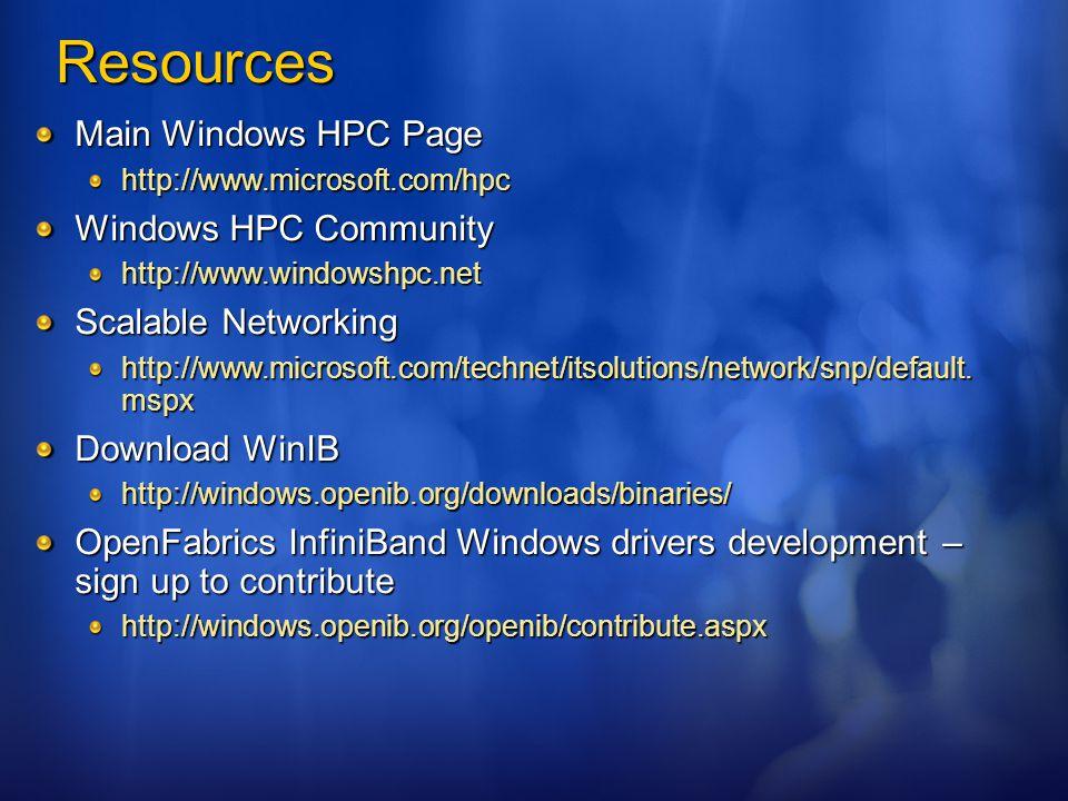 Resources Main Windows HPC Page http://www.microsoft.com/hpc Windows HPC Community http://www.windowshpc.net Scalable Networking http://www.microsoft.com/technet/itsolutions/network/snp/default.