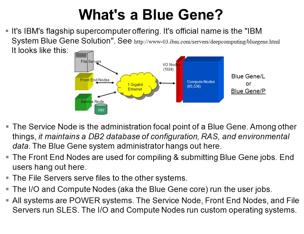 What s a Blue Gene.  It s IBM s flagship supercomputer offering.