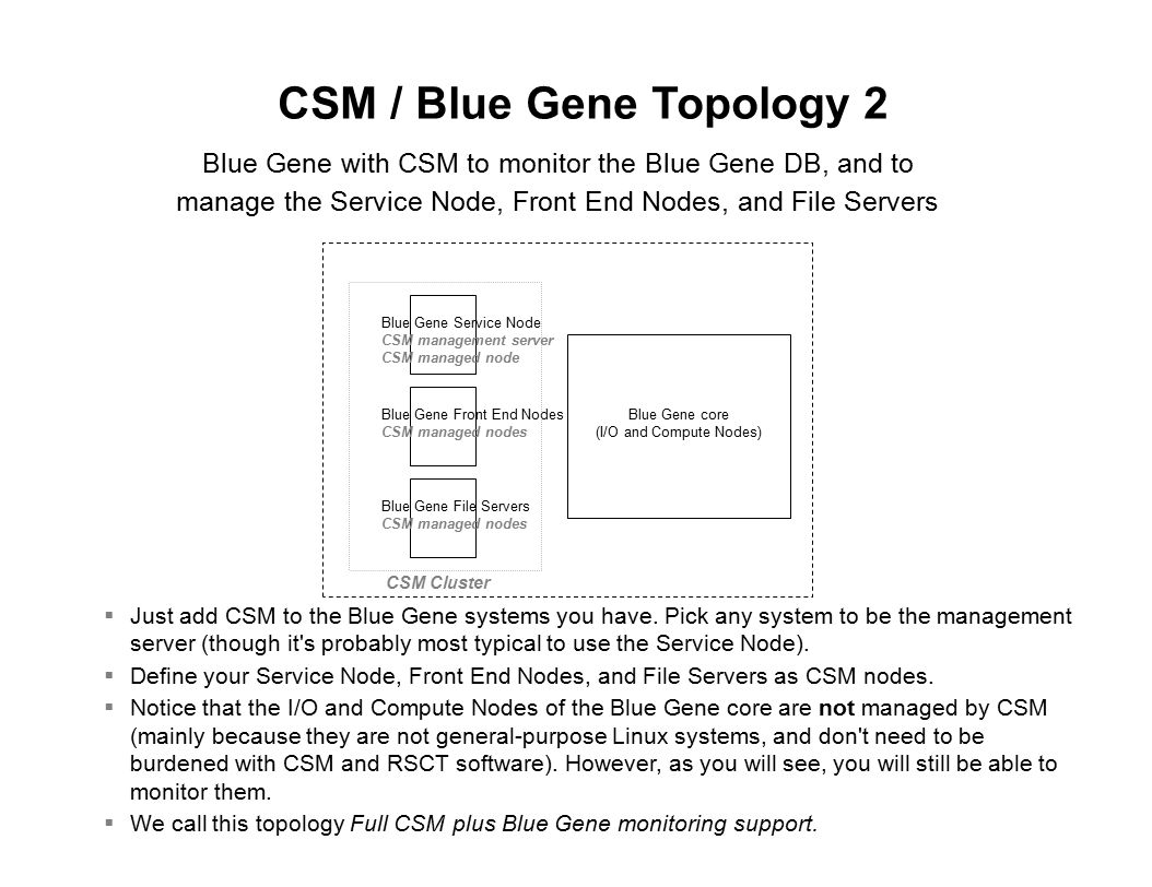 Monitoring Flow Example (3 of 7) Blue Gene core Blue Gene software Service NodeManagement Server BGNodeErr Sensor BGNodeErr Condition (upon BGNodeErr Sensor change, is SD.Uint32 > 0?) When CSM and csm.bluegene are installed, there are various predefined Sensors, Conditions, Responses, and commands available E-mail root anytime Response DB2 database bgmanage_trigger bgrefresh_sensor.so shared library