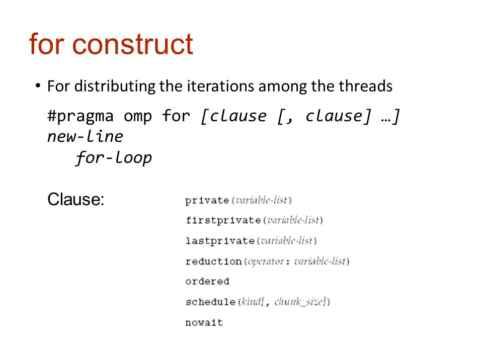 for construct For distributing the iterations among the threads #pragma omp for [clause [, clause] …] new-line for-loop Clause: