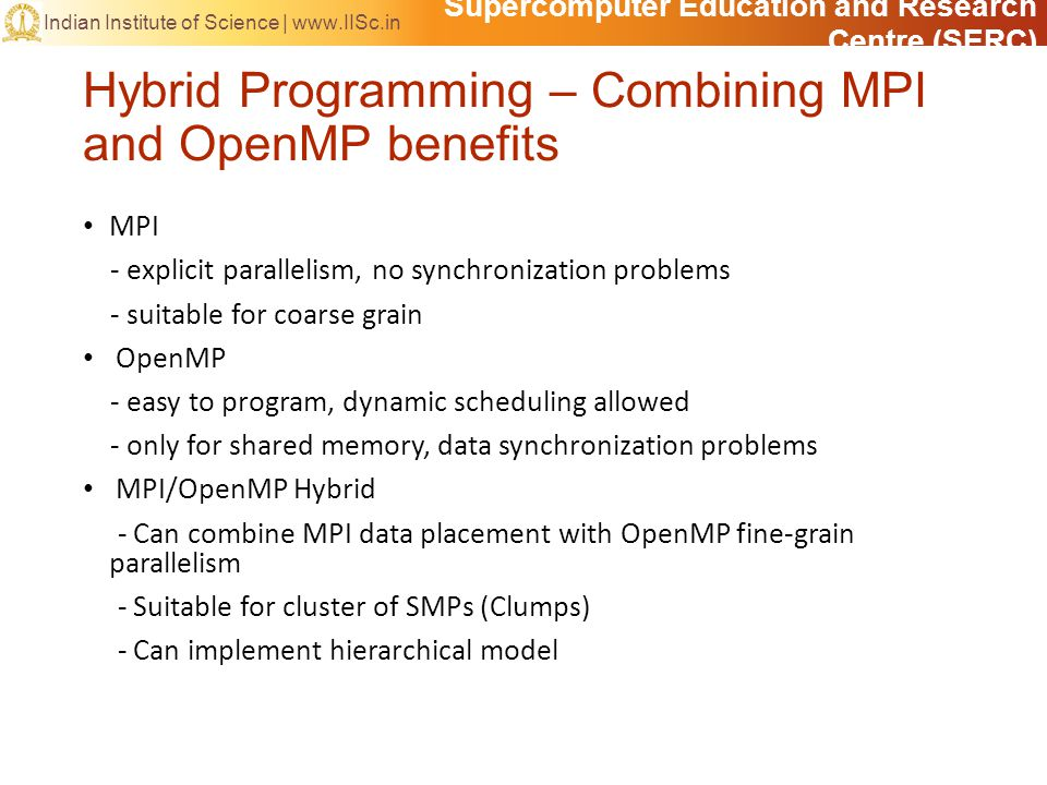 Supercomputer Education and Research Centre (SERC) Indian Institute of Science | www.IISc.in Hybrid Programming – Combining MPI and OpenMP benefits MP
