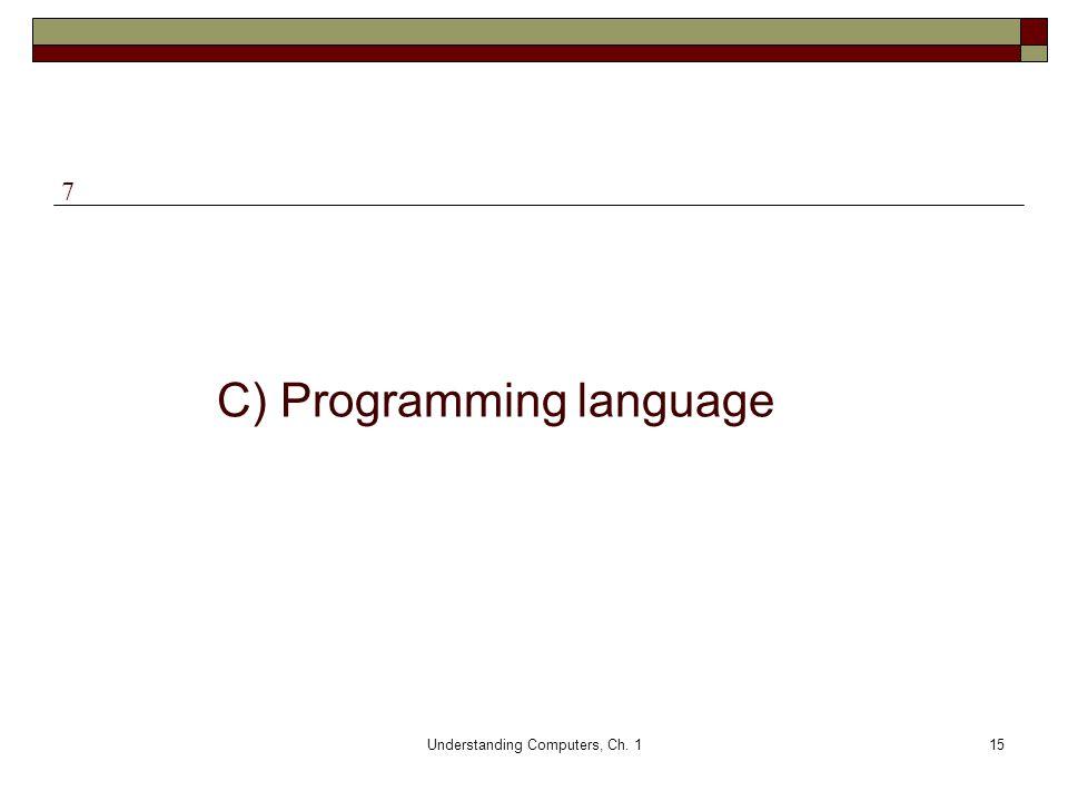 Understanding Computers, Ch. 115 C) Programming language 7