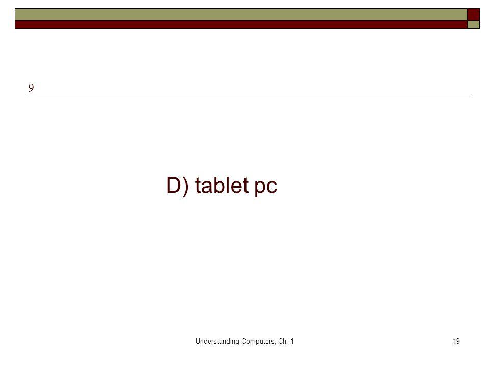 Understanding Computers, Ch. 119 D) tablet pc 9