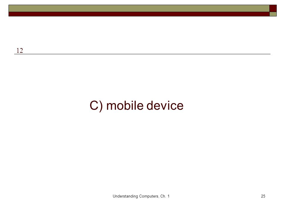 Understanding Computers, Ch. 125 C) mobile device 12