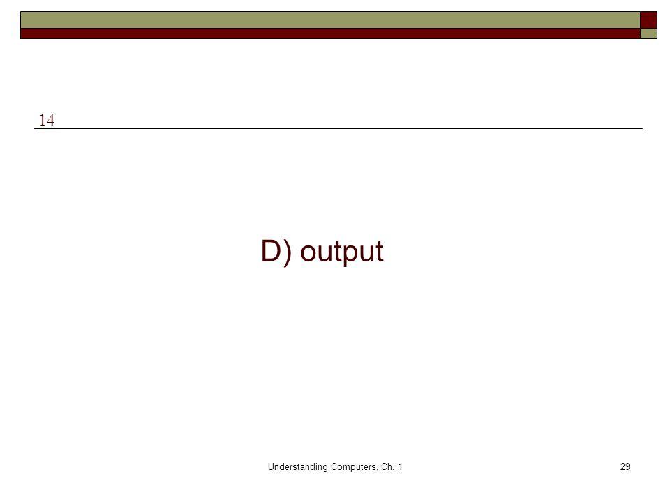 Understanding Computers, Ch. 129 D) output 14