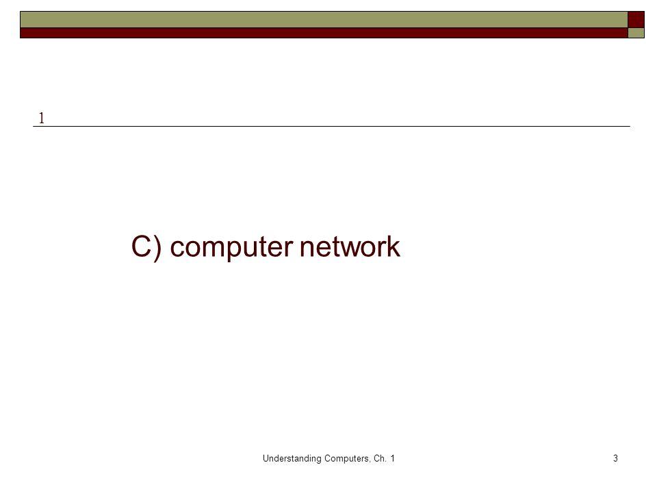 Understanding Computers, Ch. 13 C) computer network 1
