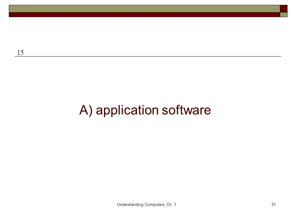 Understanding Computers, Ch. 131 A) application software 15