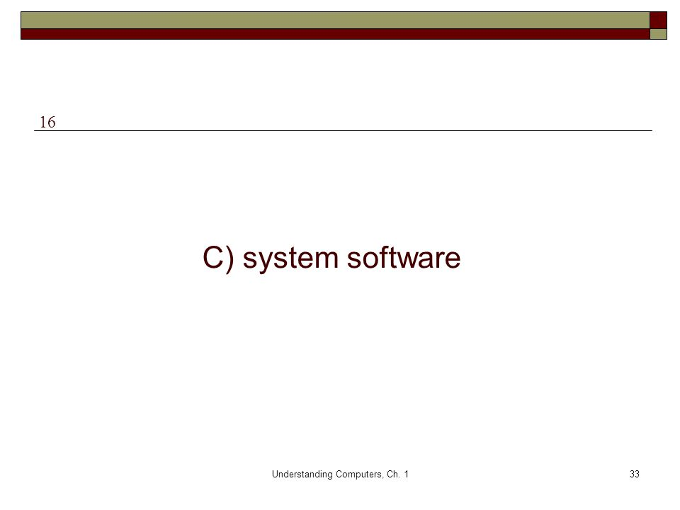 Understanding Computers, Ch. 133 C) system software 16