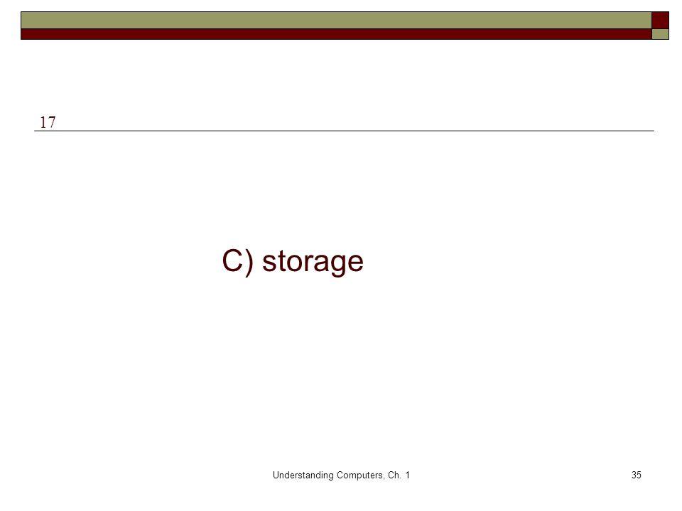 Understanding Computers, Ch. 135 C) storage 17