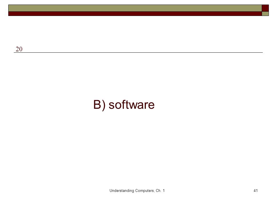 Understanding Computers, Ch. 141 B) software 20