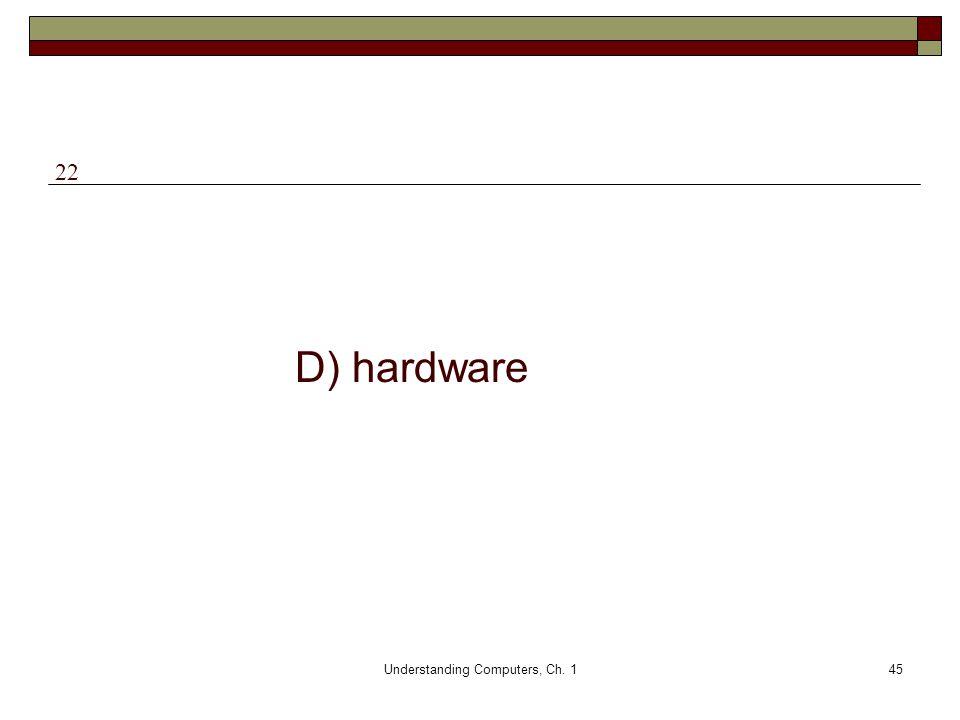 Understanding Computers, Ch. 145 D) hardware 22