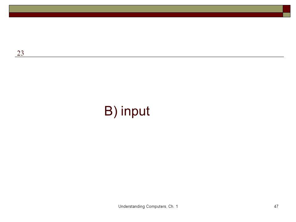 Understanding Computers, Ch. 147 B) input 23