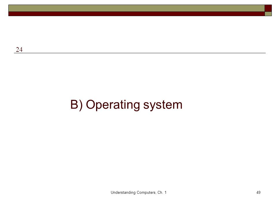 Understanding Computers, Ch. 149 B) Operating system 24