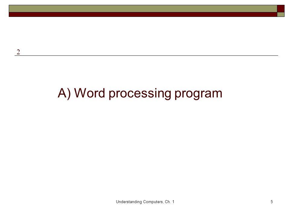 Understanding Computers, Ch. 15 A) Word processing program 2
