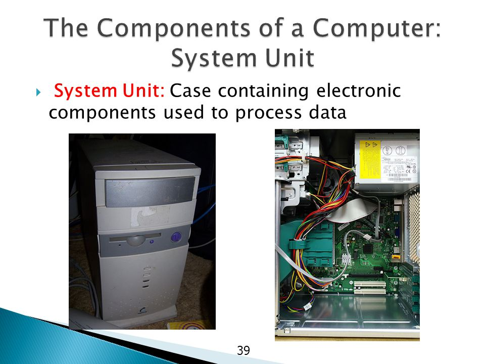  System Unit: Case containing electronic components used to process data 39