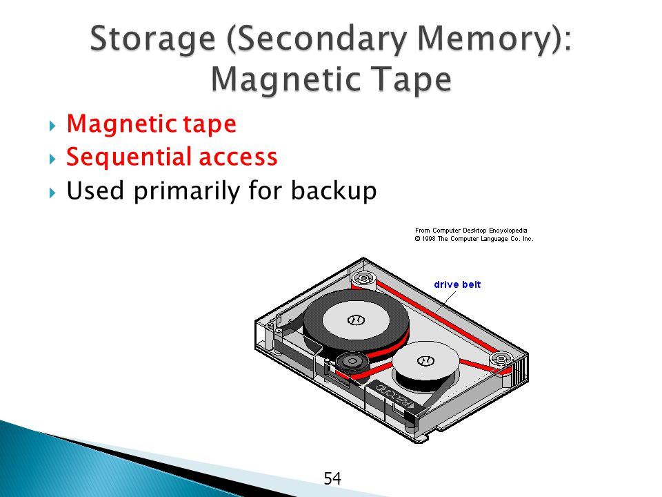  Magnetic tape  Sequential access  Used primarily for backup 54