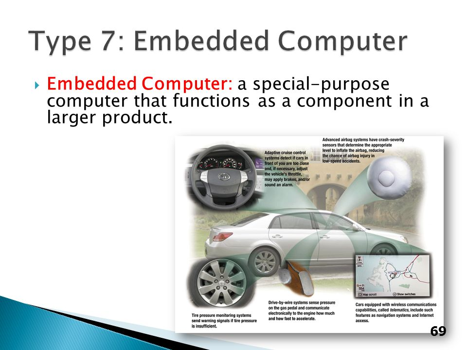  Embedded Computer: a special-purpose computer that functions as a component in a larger product. 69