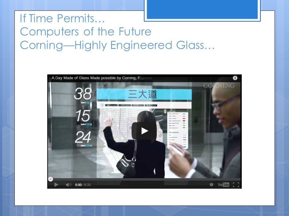If Time Permits… Computers of the Future Corning—Highly Engineered Glass…
