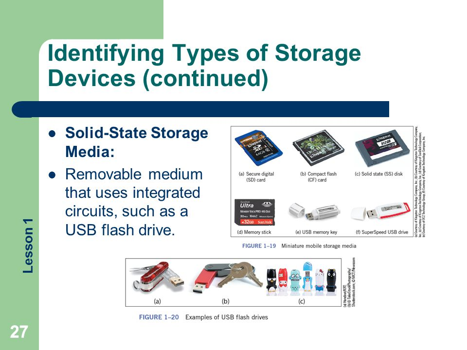 Lesson 1 Identifying Types of Storage Devices (continued) Solid-State Storage Media: Removable medium that uses integrated circuits, such as a USB fla