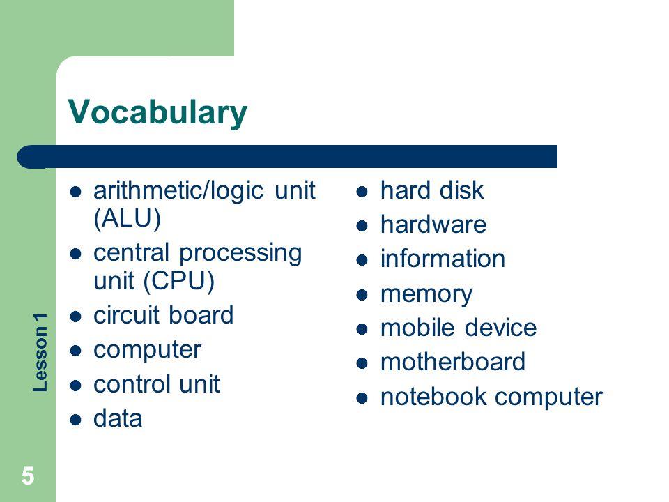 Lesson 1 555 Vocabulary arithmetic/logic unit (ALU) central processing unit (CPU) circuit board computer control unit data hard disk hardware informat