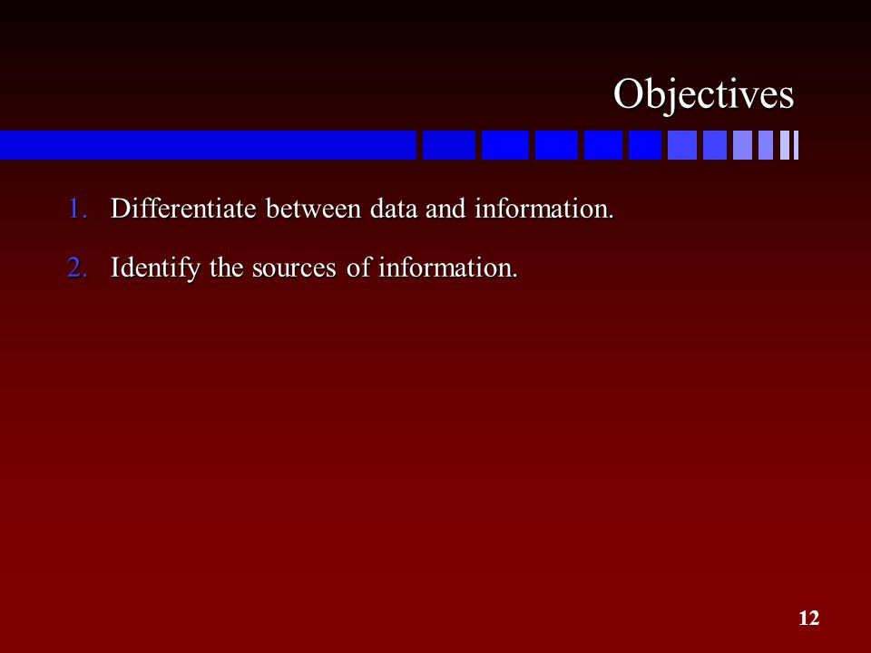 12 Objectives 1.Differentiate between data and information. 2.Identify the sources of information.