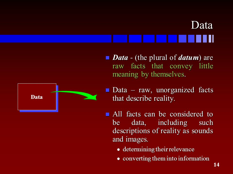 14 Data n Data - (the plural of datum) are raw facts that convey little meaning by themselves. n Data – raw, unorganized facts that describe reality.