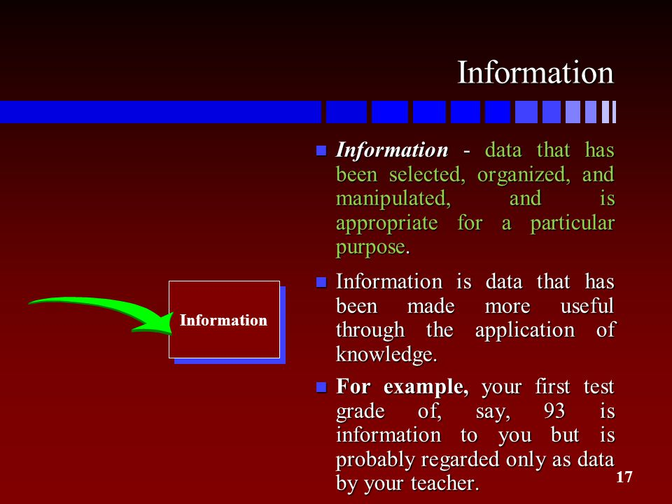 17 Information n Information - data that has been selected, organized, and manipulated, and is appropriate for a particular purpose. n Information is