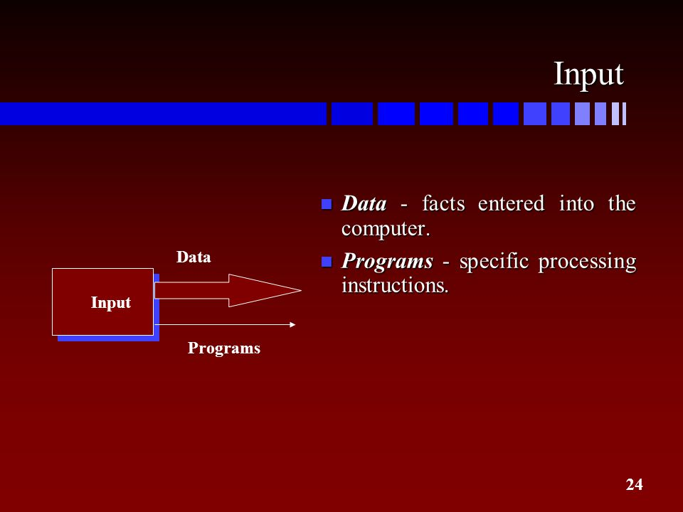24 Input Input Programs Data n Data - facts entered into the computer. n Programs - specific processing instructions.