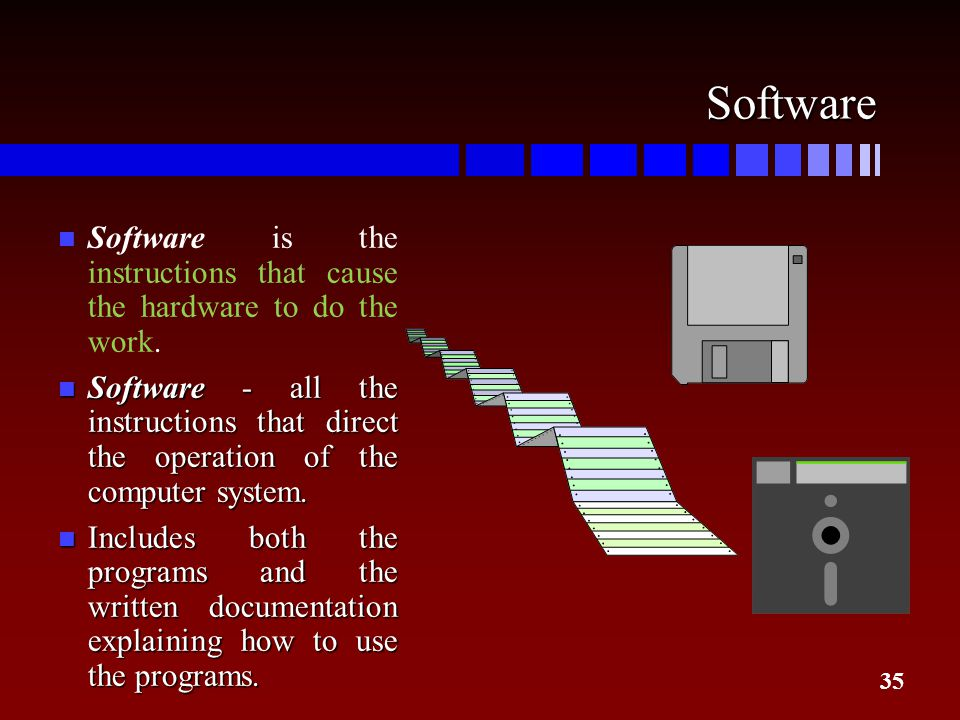 35 Software n Software is the instructions that cause the hardware to do the work. n Software - all the instructions that direct the operation of the