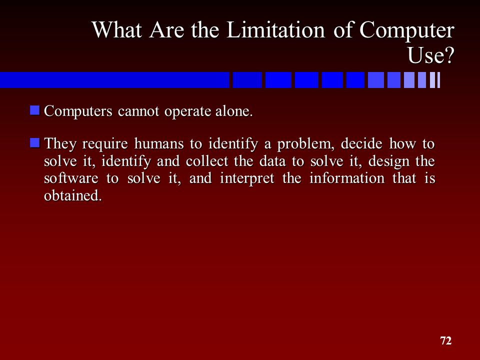 72 What Are the Limitation of Computer Use? nComputers cannot operate alone. nThey require humans to identify a problem, decide how to solve it, ident