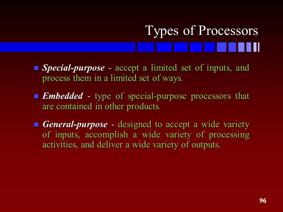 96 Types of Processors n Special-purpose - accept a limited set of inputs, and process them in a limited set of ways. n Embedded - type of special-pur
