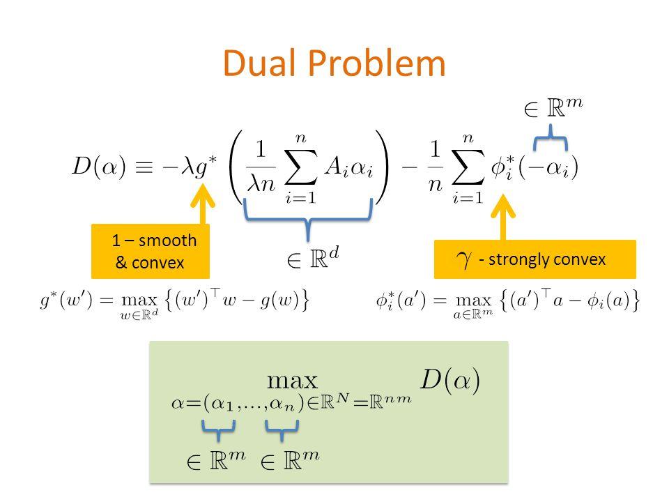 Dual Problem - strongly convex \[D(\alpha) \equiv - \lambda g^*\left(\frac{1}{\la mbda n}\sum_{i=1}^n A_i\alpha_i\right) - \frac{1}{n}\sum_{i= 1}^n \phi_i^*(- \alpha_i) 1 – smooth & convex \[\max_{\alpha=(\alpha_1,\dots,\alpha_n) \in \mathbb{R}^{N}=\mathbb{R}^{nm}} D(\alpha)\] \[g^*(w ) = \max_{w\in \mathbb{R}^d} \left\{(w )^\top w - g(w)\right\}\] \[\phi_i^*(a ) = \max_{a\in \mathbb{R}^m} \left\{(a )^\top a - \phi_i(a)\right\}\]