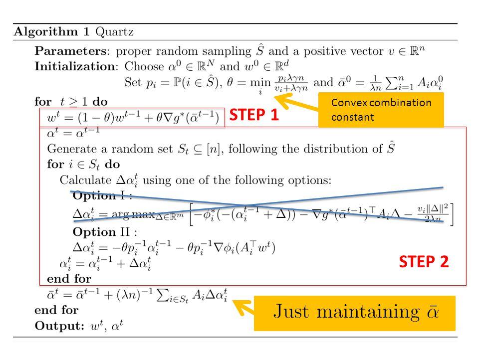 The Algorithm STEP 1 STEP 2 Convex combination constant